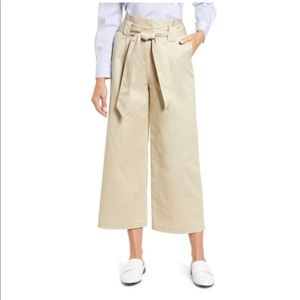 HALOGEN Paperbag Belted Wide Leg Crop Pants 4